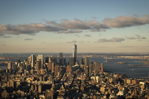 Lower Manhattan is seen just after sunrise from the observation deck of the Empire State Building in New York