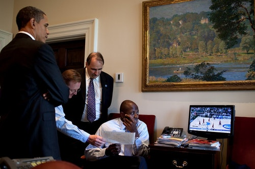 Reggie Love NCAA Men's Basketball Tournament game in the Outer Oval Office