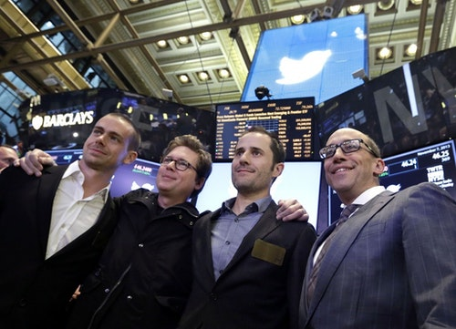 Twitter Chairman and co-founder Jack Dorsey, co-founders Biz Stone and Evan Williams and, Twitter CEO Dick Costolo