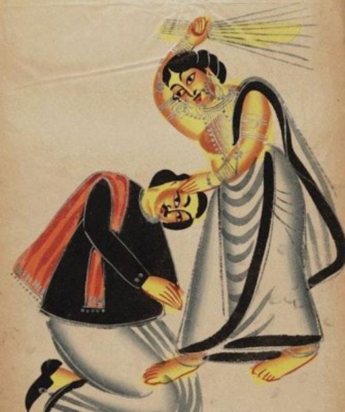 畫作《用掃帚打男人的女人》(1875) 作家未知,公開授權。