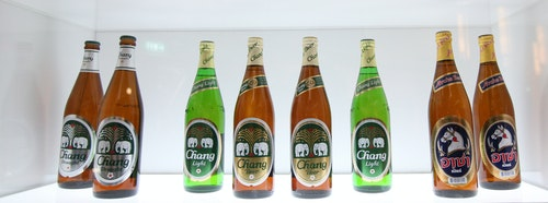 Chang Beer bottles are seen at Thai Beverage's listing ceremony at the Singapore Exchange