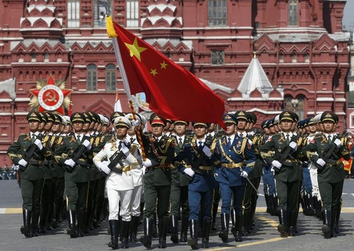 Chinese servicemen march during the Victory Day parade at Red Square in Moscow