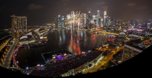 Fireworks explode during Singapore's Golden Jubilee celebrations near the central business district