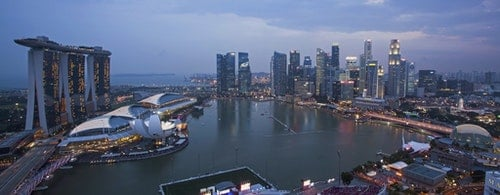 Skyline of Singapore's financial district and Marina Bay
