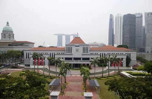 View of the Parliament House next to the central business district in Singapore