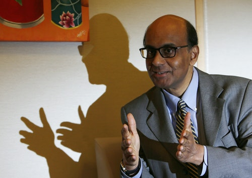 Singapore's Finance and Deputy Prime Minister Tharman speaks to Reuters during an interview at his office in Singapore
