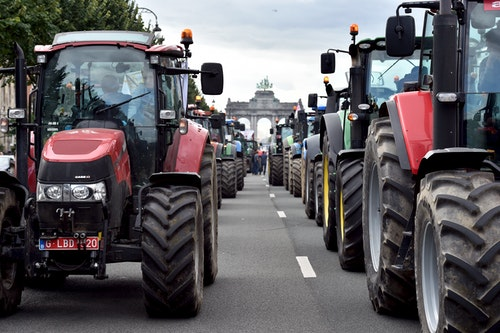 Tractors are seen in central Brussels as farmers and dairy farmers from all over Europe take part in a demonstration in Brussels