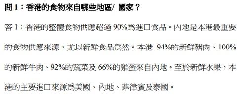 本港食物供應的常見問題(食物安全中心,2011)