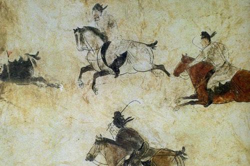 唐代壁畫裡的馬球。擷取自Wikipedia