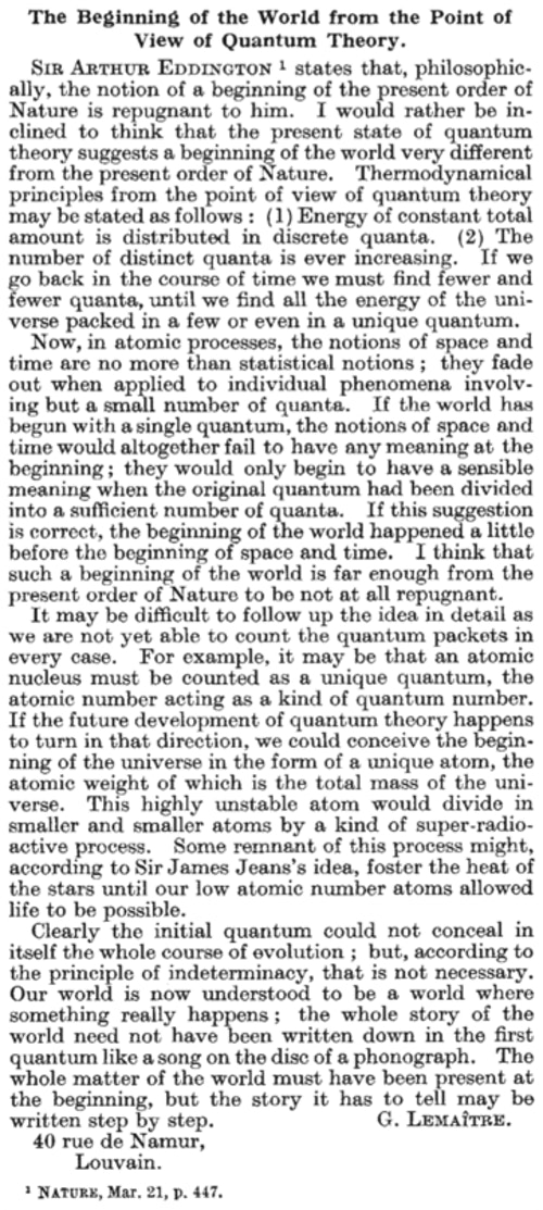 "1931 年 3 月 21 日,George Lemaître 在 Nature 雜誌發表 ""The Beginning of the World from the Point of View of Quantum Theory 科學論文,首次提出宇宙有起始的科學論證。photo credit: 作者提供"