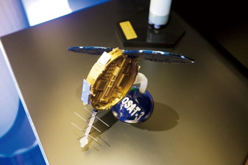 A model of the FORMOSAT-3 satellite used to gather data for weather forecasting and studying climate change. Photo Credit: Taiwan Business TOPICS