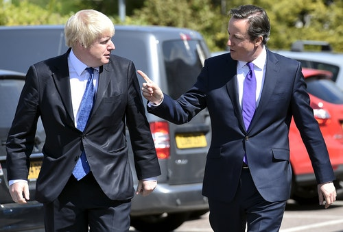 Britain's Prime Minister Cameron and London Mayor Johnson arrive at the Advantage children's daycare nursery in Surbiton in south west London