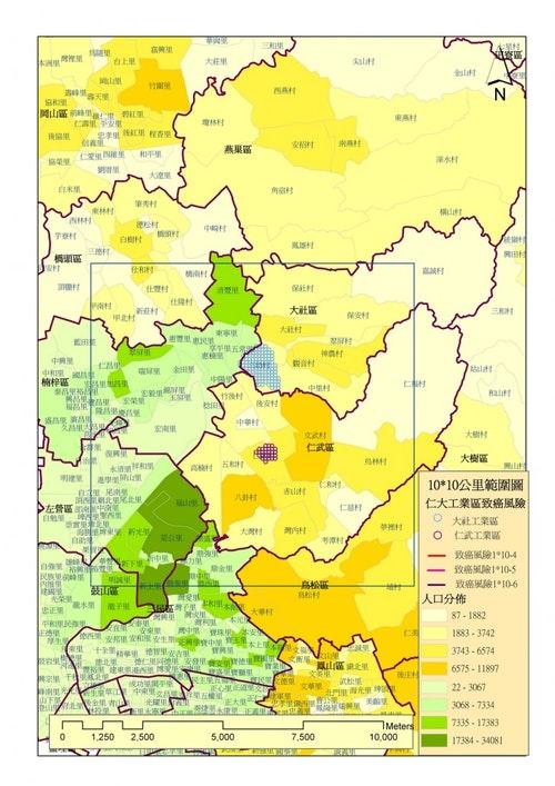仁大工業區健康風險評估區域圖