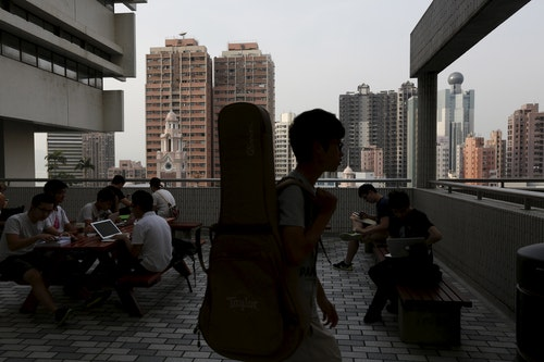 Students study inside the campus of the University of Hong Kong in Hong Kong