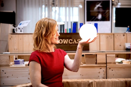 Annie Ivanova with the LUNA lamp. She aims to present Taiwanese design to the international market. Photo Credit: Beyonder Times