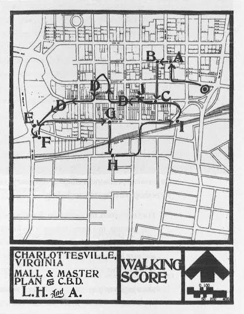 哈普林事務所於1972年舉辦的夏洛茲維市參與式工作坊的人行動線譜記