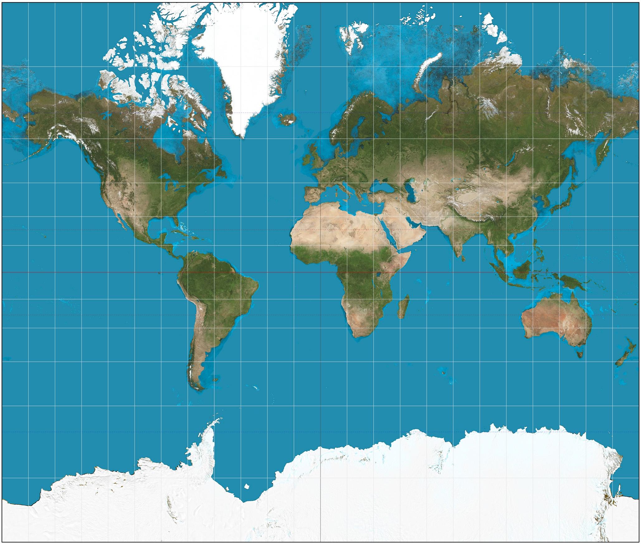 「麥卡托投影法」,優點是地圖的方向、陸地的形狀可以精準呈現,但缺點是高緯度地區會被等比放大。|Photo Credit:Strebe@Wiki CC BY SA 3.0