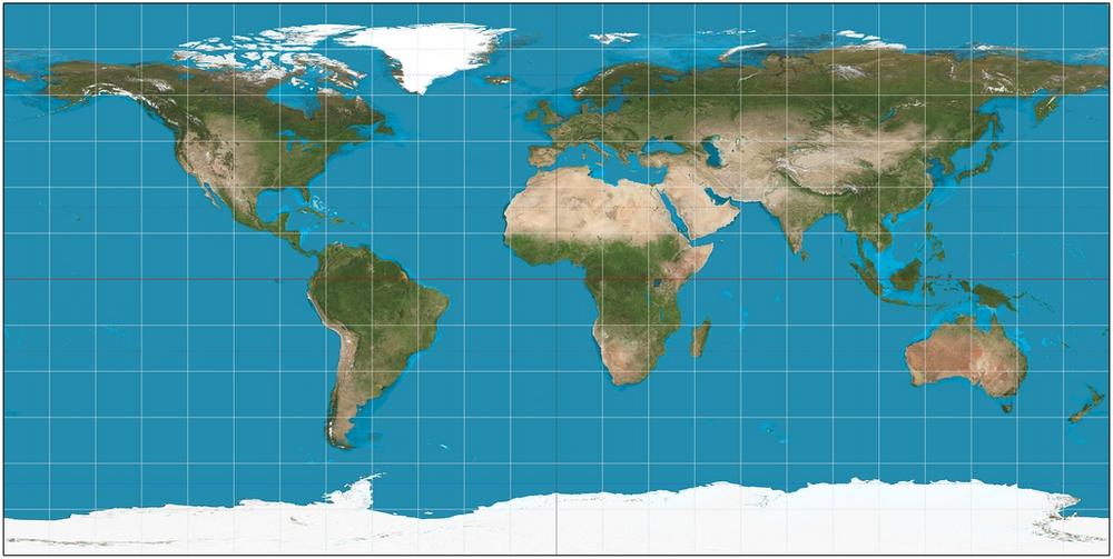 「等角投影法」是目前最常見的地圖,但是這個投影法的方向、面積完全變形,尤其兩極的面積被嚴重放大、拉長,僅有美觀的功能。|Photo Credit:Strebe@Wiki CC BY SA 3.0