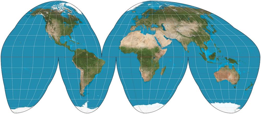 「古德投影法」是少數的切割型地圖投影法,這種地圖可以真實呈現陸地面積,但缺點就是海洋的部分被切割。|Photo Credit:Strebe@Wiki CC BY SA 3.0