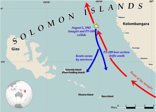 Map showing the collision between USN w:Motor Torpedo Boat PT-109 and Japanese destroyer w:Amagiri, August 2, 1943