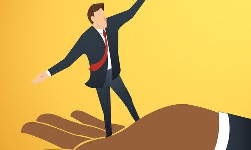 Businessman or man walking on big hand — Vector by h.santima.gmail.com