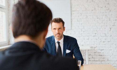 Job interview - recruiter negotiate terms with candidate