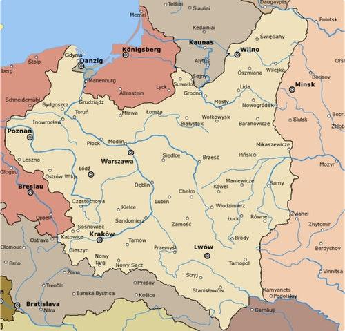 7_1921-1939_年的波蘭,紅色為德國/Wikipedia