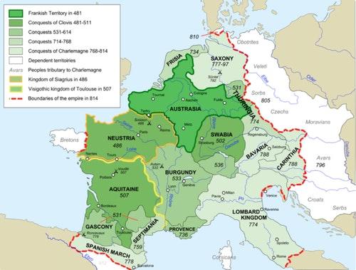 1法蘭克帝國歷代的擴張/Wikipedia