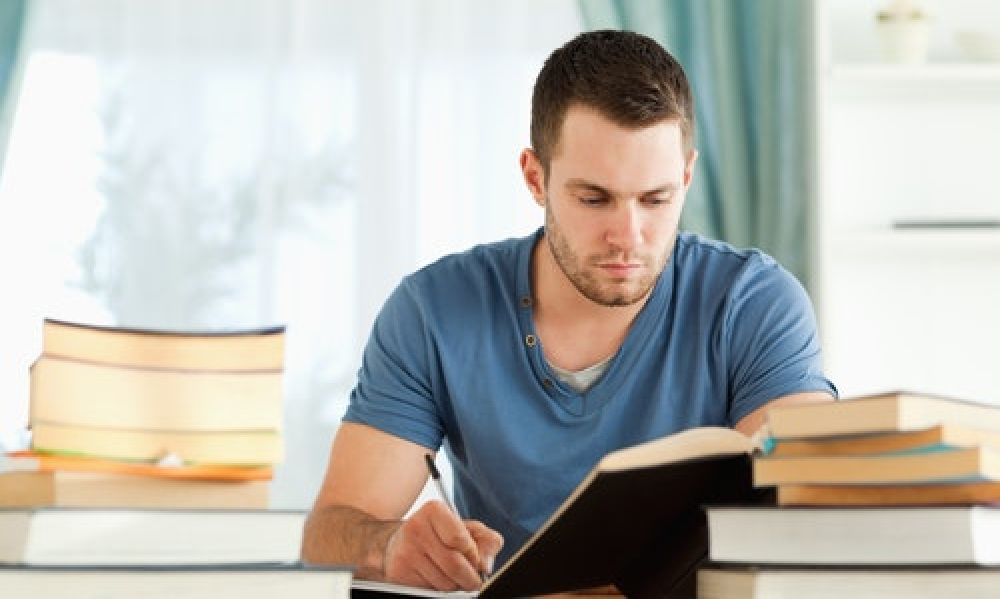 Male student preparing for exam