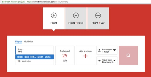 英國航空台灣改名改國名中國