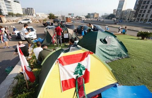 黎巴嫩抗爭街頭運動全國示威帳篷