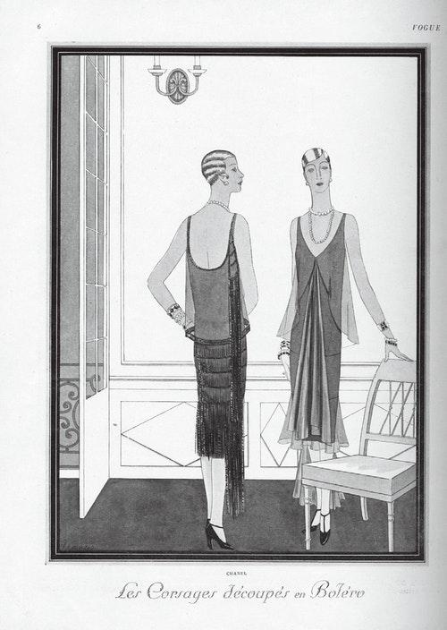 香奈兒黑色小禮服的不同變化,1926年4月刊登於法國版《時尚》雜誌。