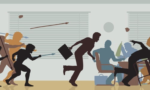 Illustrated color cutouts of cavemen attacking a business meeting - Illustration
