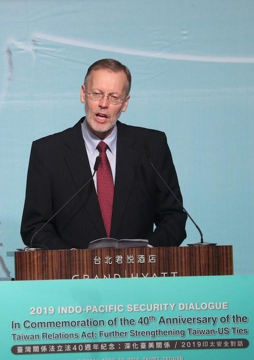 美國在台協會(AIT)處長酈英傑(Brent Christensen)(圖)16日在台北,出席「2019印太安全對話開幕典禮」,並致歡迎詞。中央社記者吳家昇攝  108年4月16日