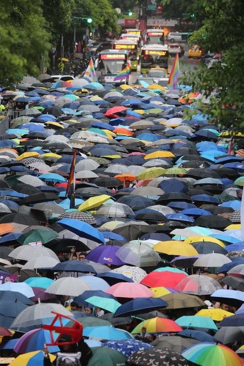 民眾立院外撐傘關心同婚專法