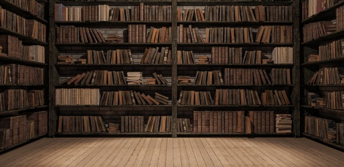 Bookshelves in the library with old books 3d render 3d illustration - 插圖