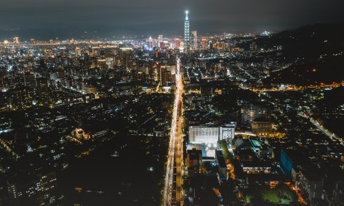 Taipei, Taiwan, 20 July 2019: Skyline of taipei city in downtown Taipei. Taipei101 building during sunset twilight, the highest buiding in Taiwan